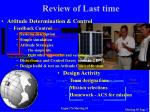 review of last time