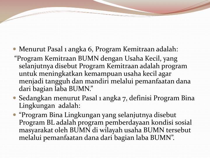 Menurut Pasal 1 angka 6, Program Kemitraan adalah: