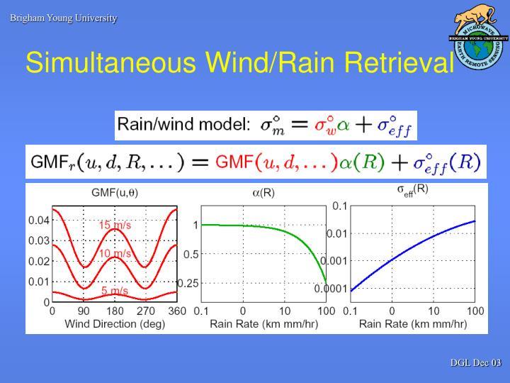 Simultaneous wind rain retrieval