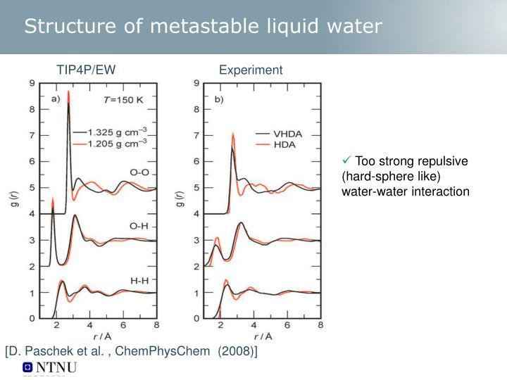 Structure of metastable liquid water