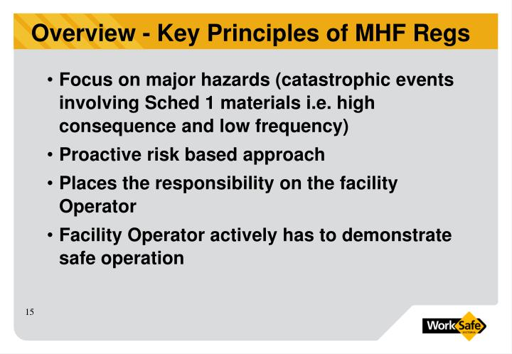 Focus on major hazards (catastrophic events involving Sched 1 materials i.e. high consequence and low frequency)