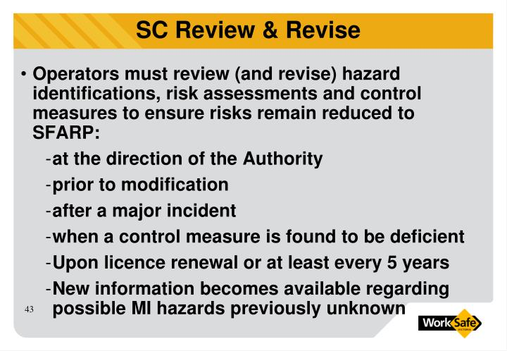 Operators must review (and revise) hazard identifications, risk assessments and control measures to ensure risks remain reduced to SFARP: