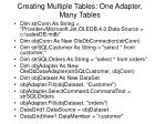 creating multiple tables one adapter many tables