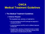 owca medical treatment guidelines35