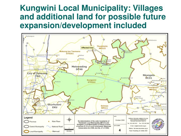 Kungwini Local Municipality: Villages and additional land for possible future expansion/development included
