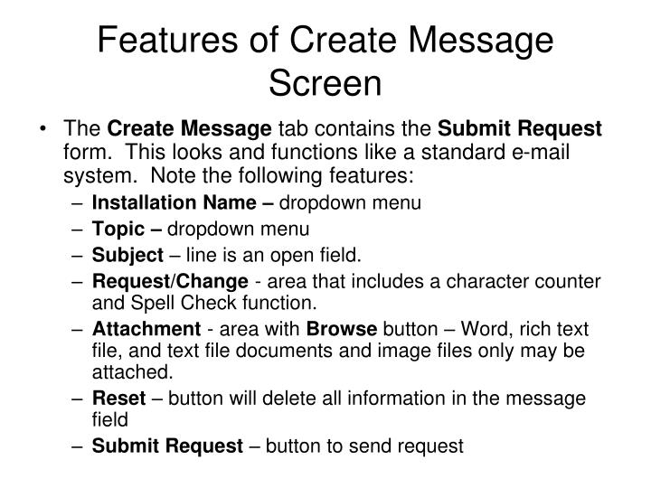 Features of Create Message Screen
