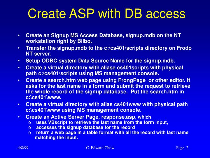 Create asp with db access