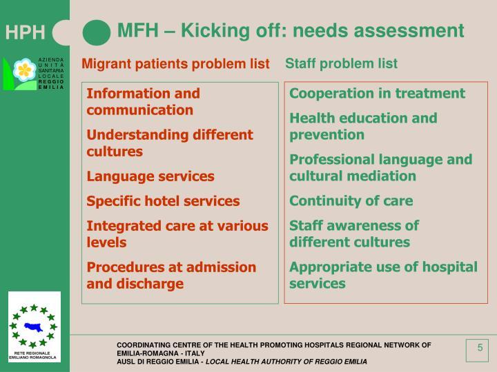 MFH – Kicking off: needs assessment
