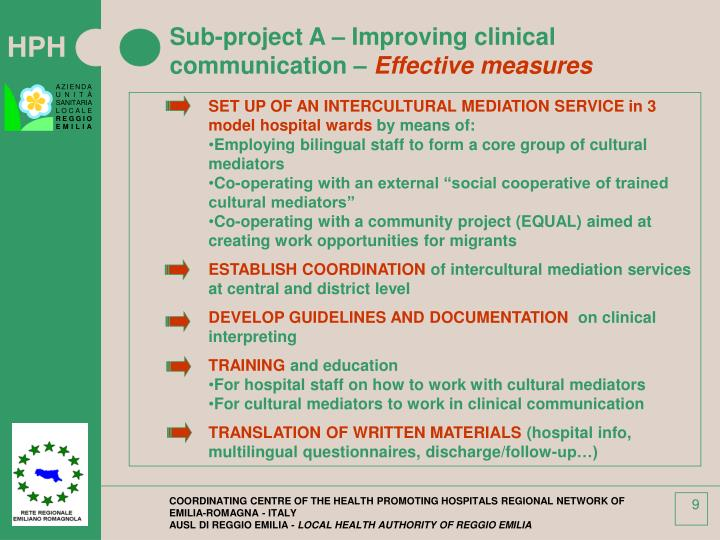 Sub-project A – Improving clinical communication –
