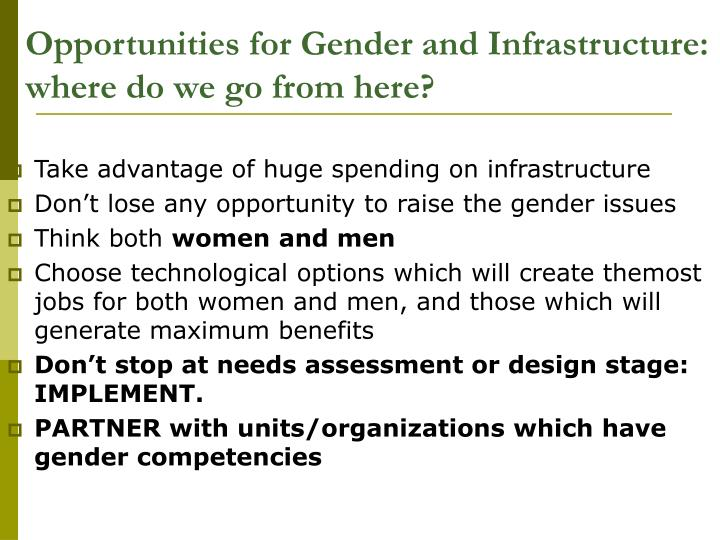 Opportunities for Gender and Infrastructure: where do we go from here?