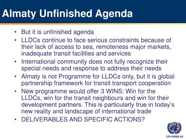 Almaty Unfinished Agenda