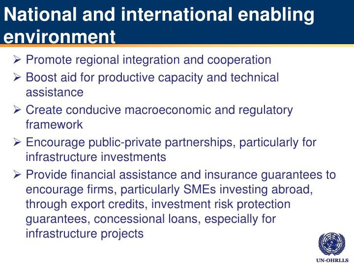 National and international enabling environment