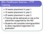 bsc healthcare science ptp training