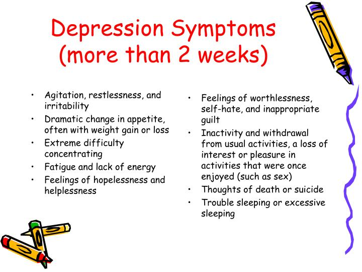 Depression symptoms more than 2 weeks