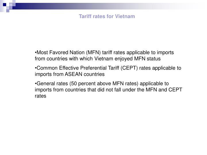 Tariff rates for Vietnam