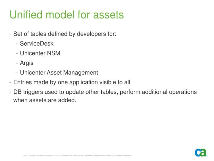 Unified model for assets