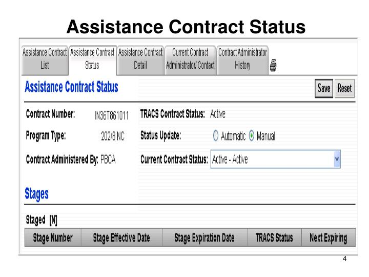Assistance Contract Status