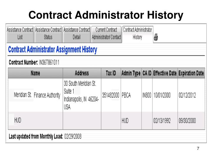 Contract Administrator History