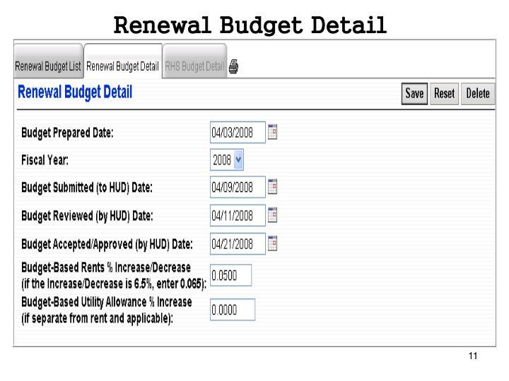 Renewal Budget Detail