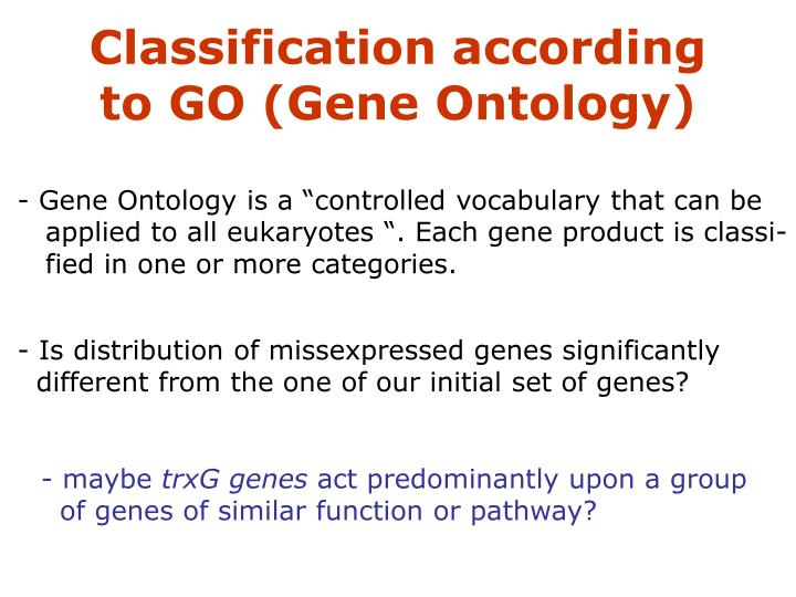 Classification according to GO (Gene Ontology)