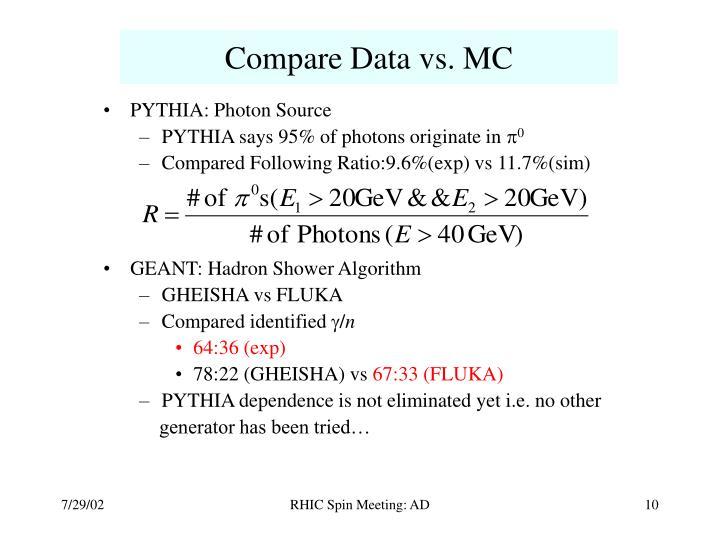 Compare Data vs. MC