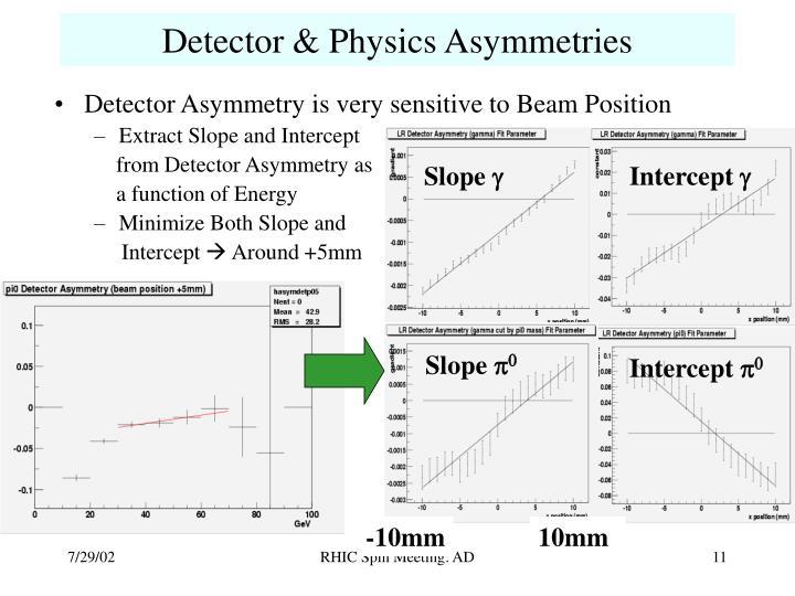 Detector & Physics Asymmetries