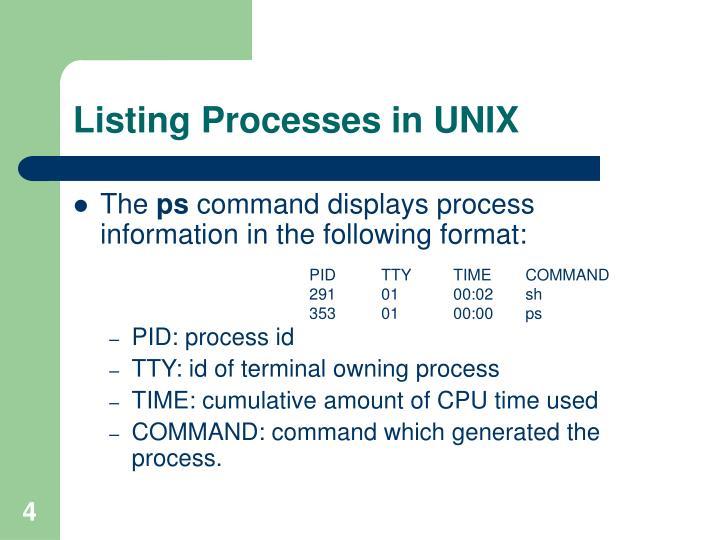 Listing Processes in UNIX