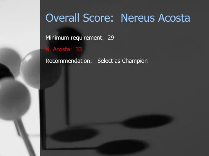 Overall Score:  Nereus Acosta
