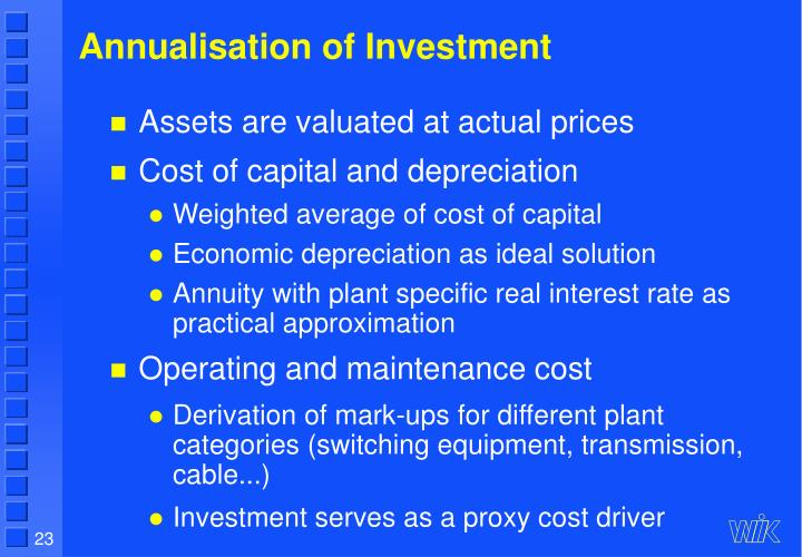 Annualisation of Investment