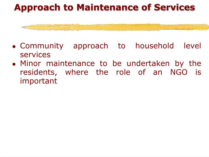 Approach to Maintenance of Services