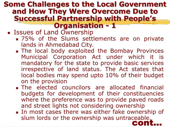 Some Challenges to the Local Government and How They Were Overcome Due to Successful Partnership with People's Organisation - 1