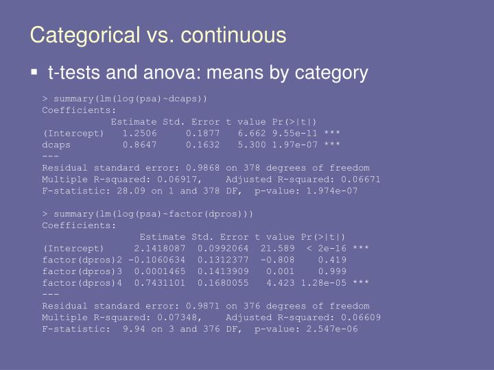 Categorical vs. continuous