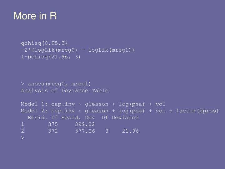 More in R
