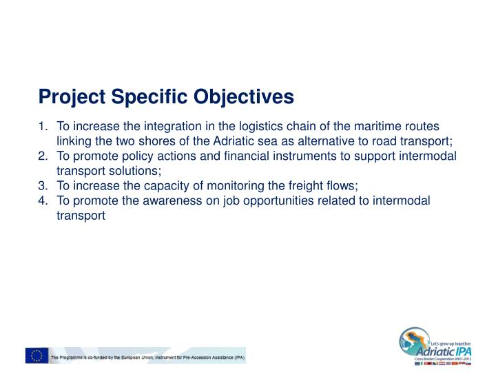 Project specific objectives