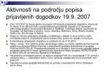 aktivnosti na podro ju popisa prijavljenih dogodkov 19 9 2007