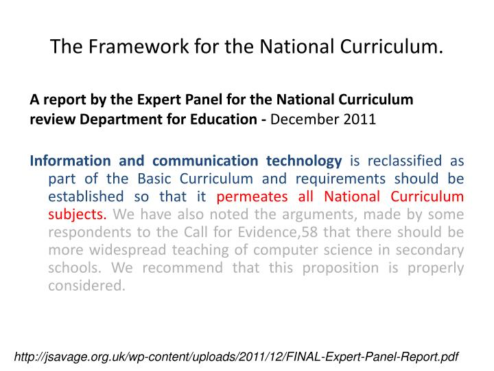 against a national curriculum The national curriculum forms one part of the school curriculum 23 all state schools are also required to make provision for a daily act of collective worship and must teach religious.
