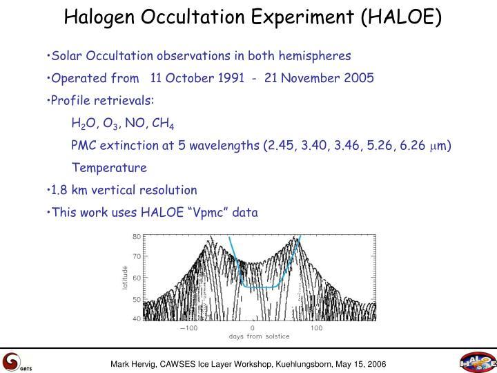 Halogen occultation experiment haloe