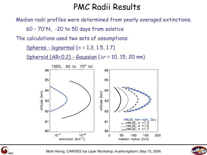 PMC Radii Results