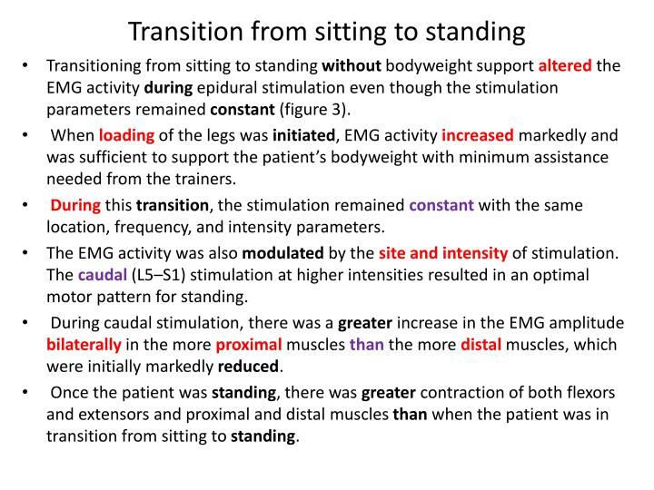 Transition from sitting to standing