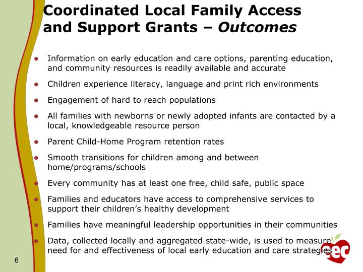 Coordinated Local Family Access and Support Grants –