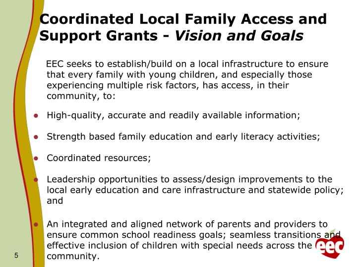 Coordinated Local Family Access and Support Grants -