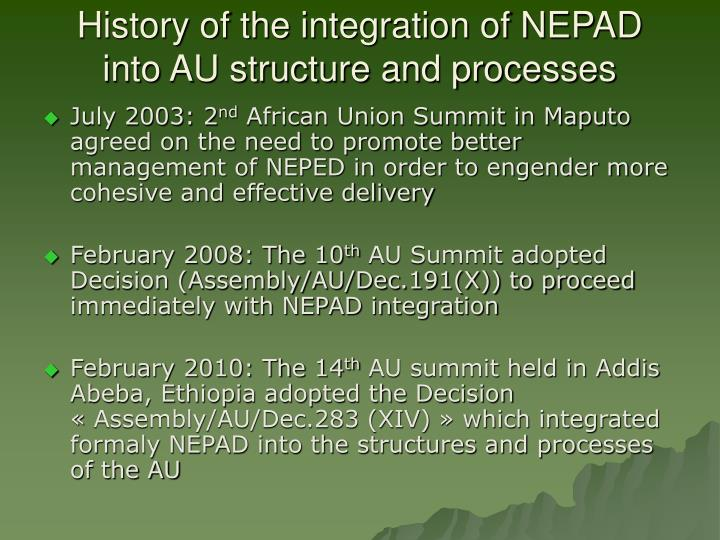 History of the integration of NEPAD into AU structure and processes