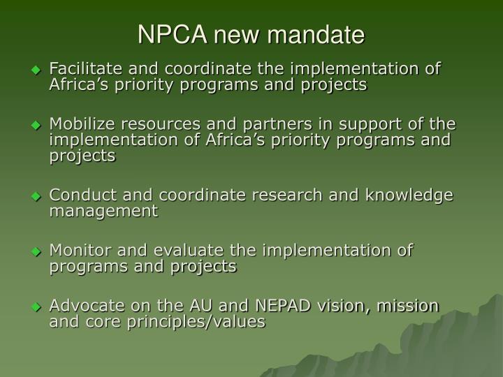 NPCA new mandate
