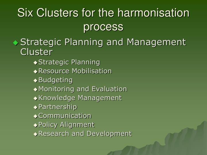 Six Clusters for the harmonisation process