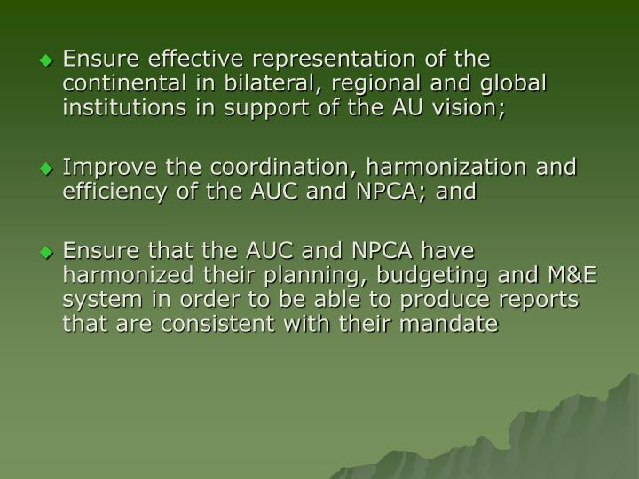 Ensure effective representation of the continental in bilateral, regional and global institutions in support of the AU vision;