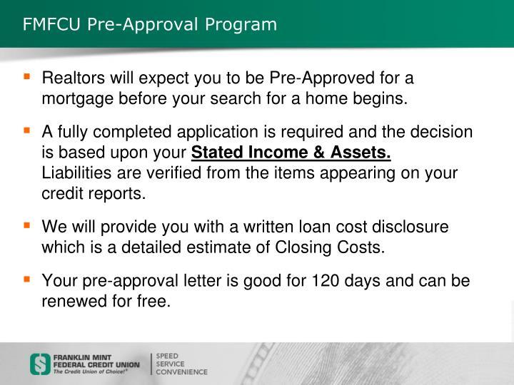 FMFCU Pre-Approval Program