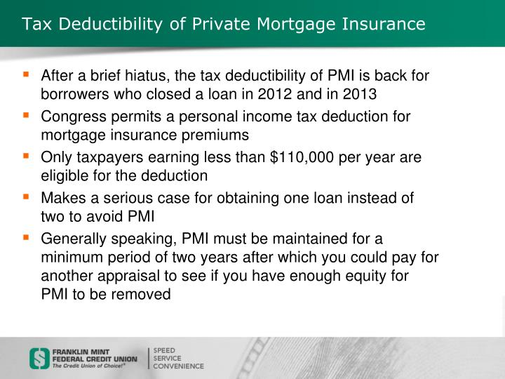 Tax Deductibility of Private Mortgage Insurance