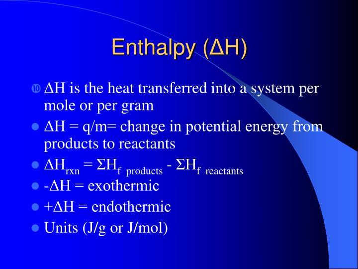 Enthalpy (