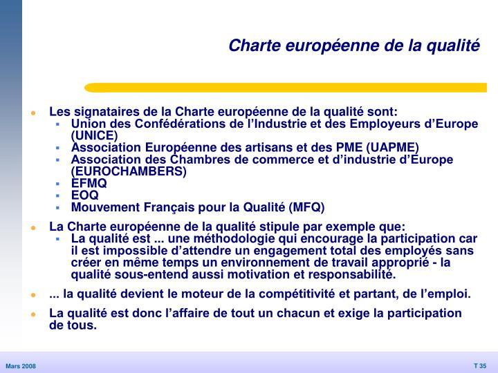 Charte européenne de la qualité