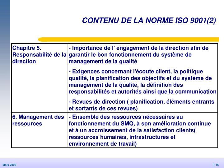 CONTENU DE LA NORME ISO 9001(2)